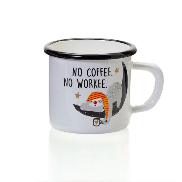 """Emaille Tasse Becher weiss mit schwarzem Rand """"No Coffee.No Workee."""""""