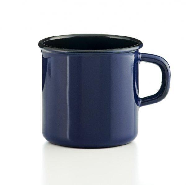 Riess Tasse Emaille Topf mit Bördel Color blau