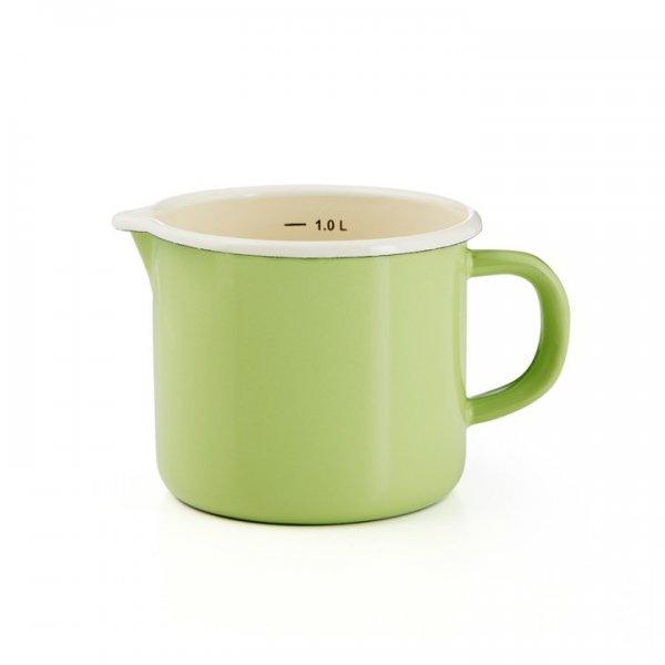 Emaille Litermaß Schnabeltopf Krüger 1 Liter grün