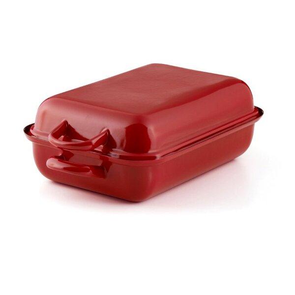 Emaille Riess Bräter Color rot Bratpfanne mit Deckel 32x22cm