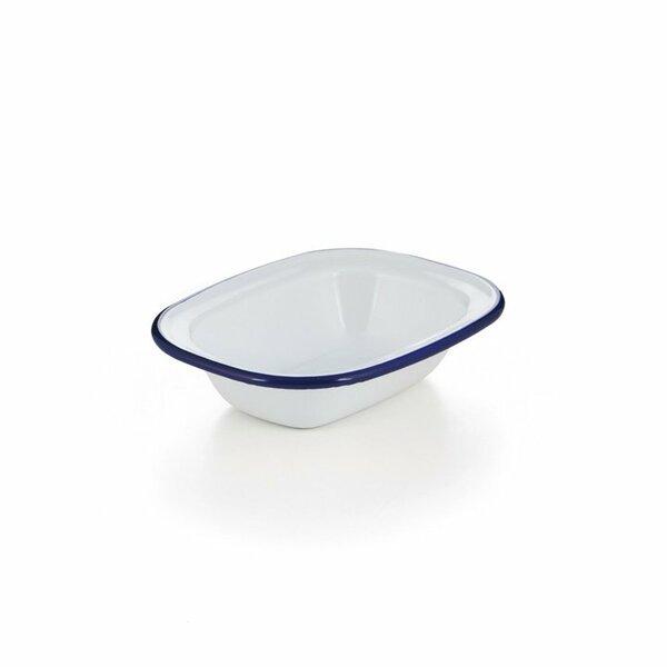 Emaille Ofenschale, Ofenschälchen weiß blauer Rand 16cm