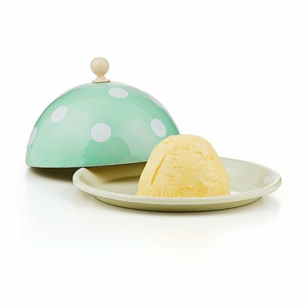 Emaille Butterglocke Butterdose mintgrün mit weißen punkten