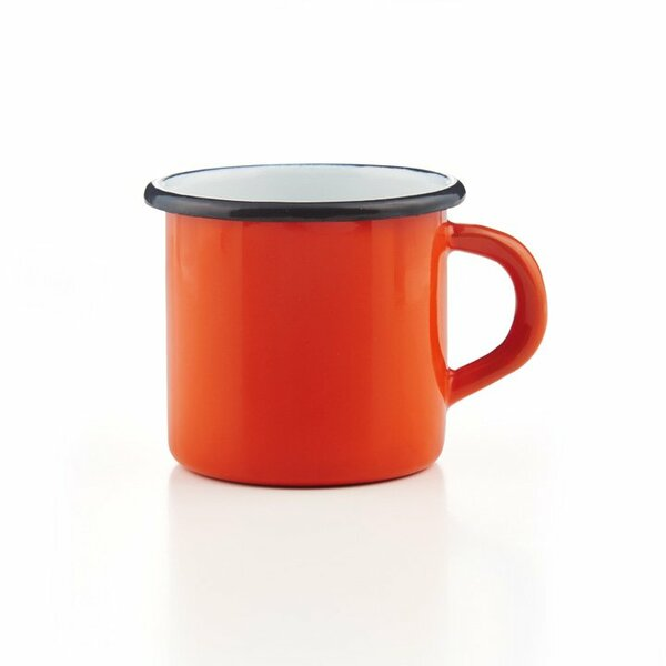 Emaille Tasse orange mit schwarzem Rand Becher