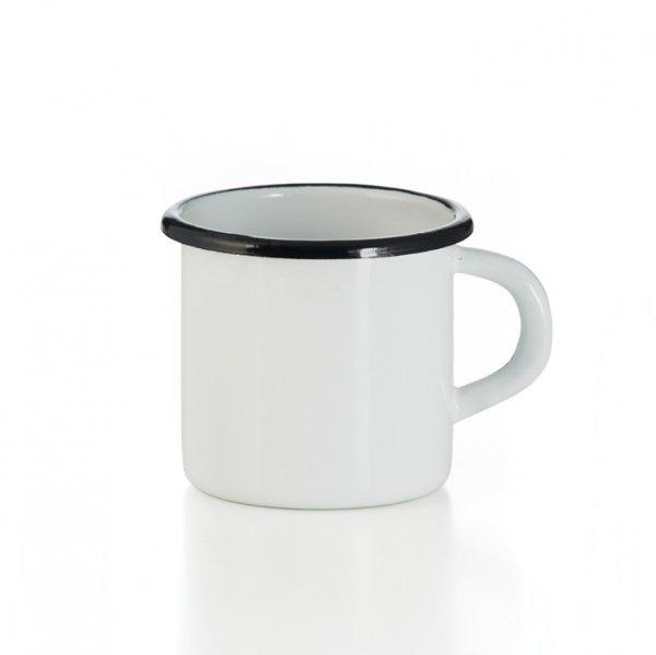 Emaille Tasse weiss mit schwarzem Rand Becher