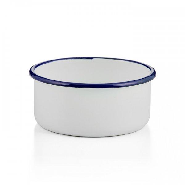 Emaille Schale rund Universalschale Ofenform, Ofenschale weiß blau