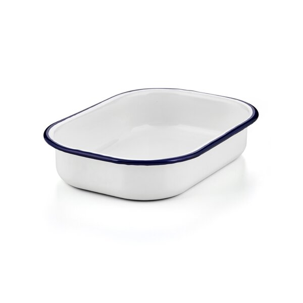 Emaille Universalschale Ofenform, Ofenschale weiß blau