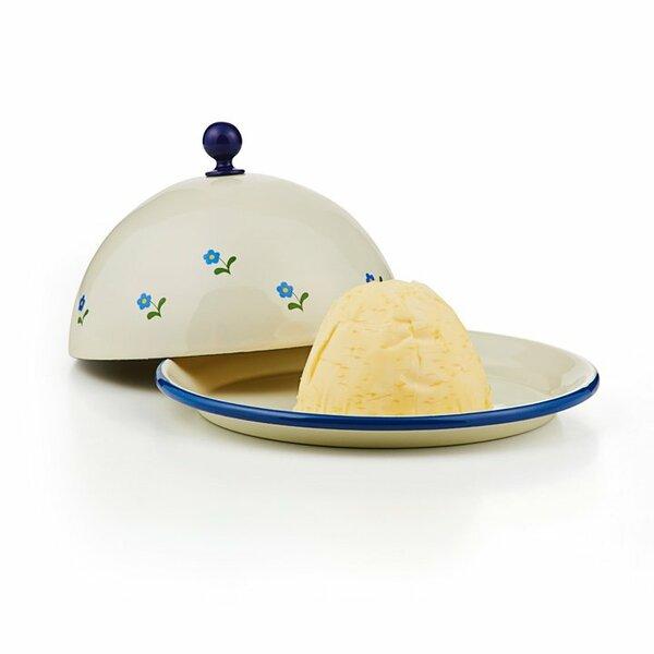 Emaille Butterglocke Butterdose blümchen