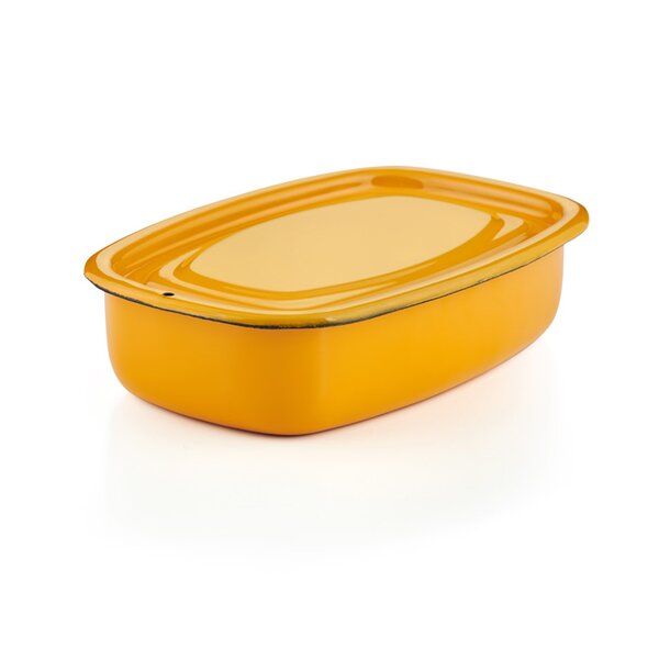 Emaille Auflaufform mit Deckel Vorratsbehälter gelb