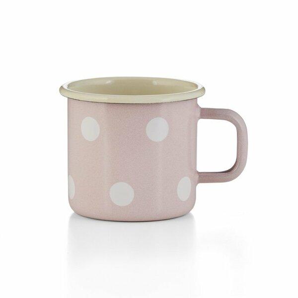 Emaille Tasse Becher rosa Tupfen