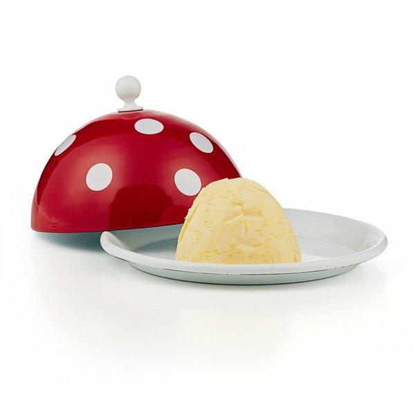 Emaille Butterglocke Butterdose rot mit weißen punkten