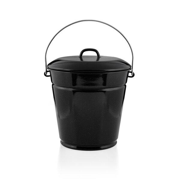 Riess Emaille Eimer mit Deckel Mülleimer Ascheeimer 10 Liters schwarz gesprenkelt