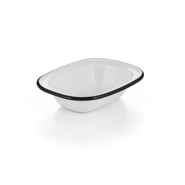 Emaille Ofenschale, Ofenschälchen weiß schwarzer Rand 16cm