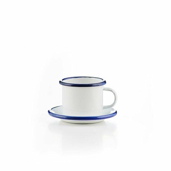 Emaille Espressotasse mit Untertasse weiß