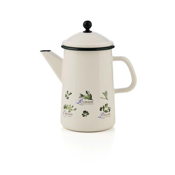 Emaille Kaffeekanne Kräuter
