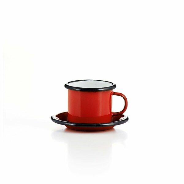 Emaille Espressotasse mit Untertasse rot