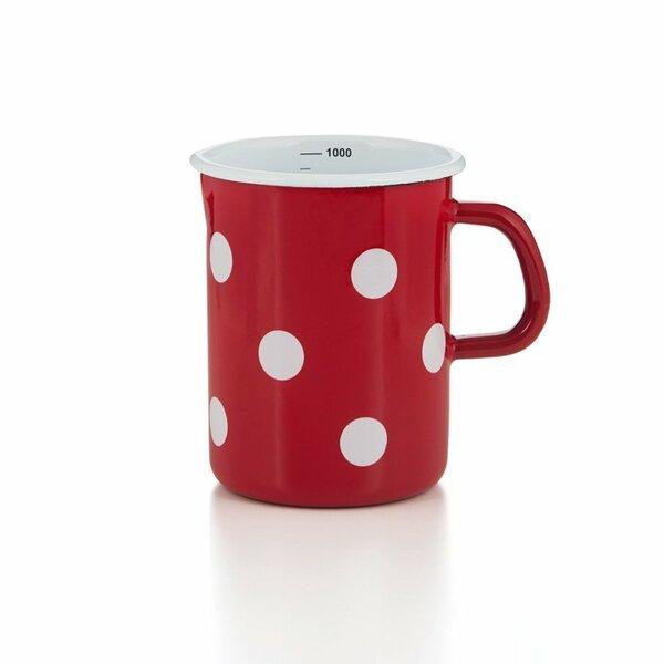 Emaille Litermaß Messbecher rot mit Punkten 1 Liter