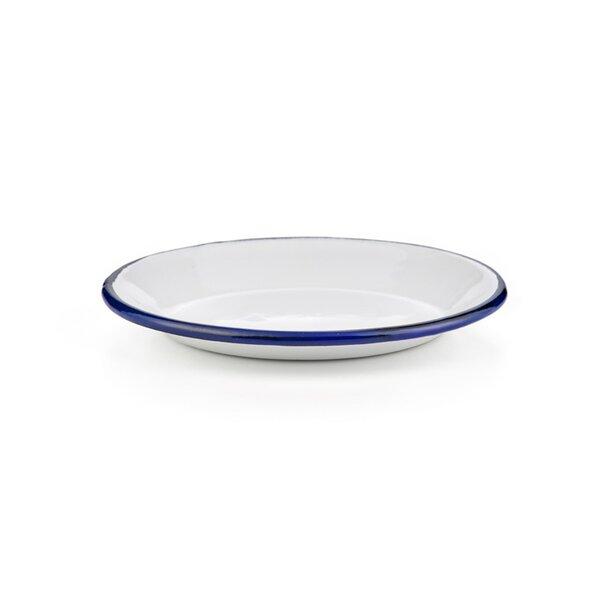 Emaille Unterteller weiß mit blauem Rand 14cm Tellerchen