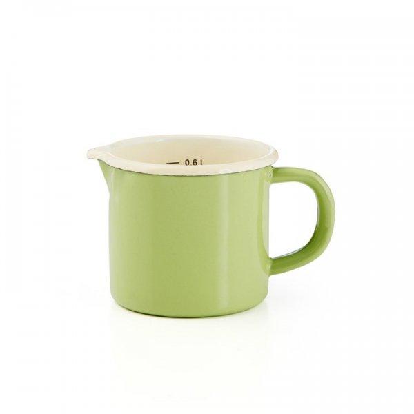 Emaille Litermaß Schnabeltopf Krüger 0,6 Liter grün