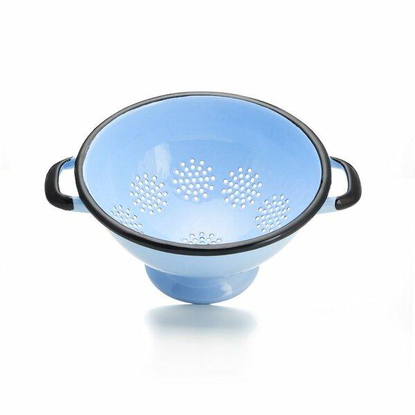 Emaille Durchschlag Sieb Nudelsieb hellblau