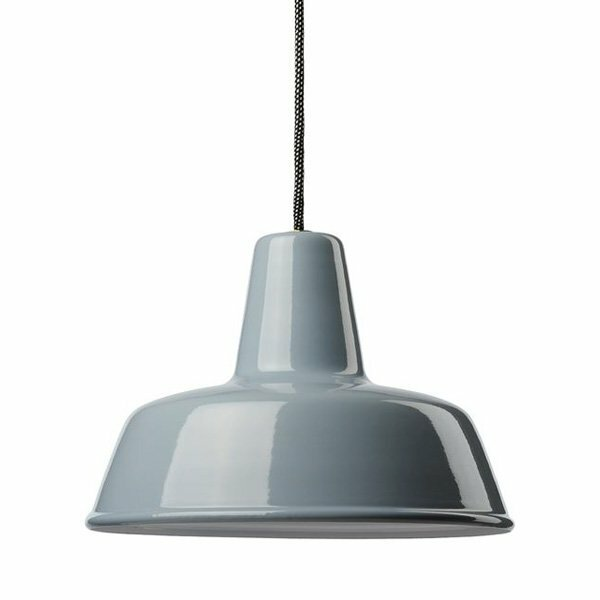 Gics Emaille Lampe 300 Flachstrahler blaugrau
