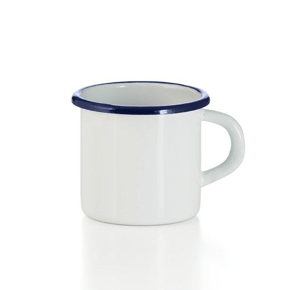 Emaille Tasse Becher weiß blauer Rand