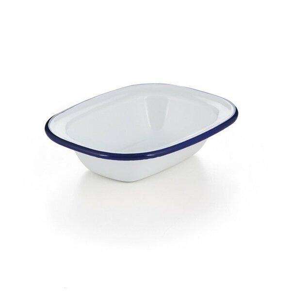 Emaille Ofenschale, Ofenform, Ofenschälchen weiß blauer Rand 20cm