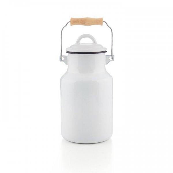 Emaille Milchkanne weiß 2 Liter