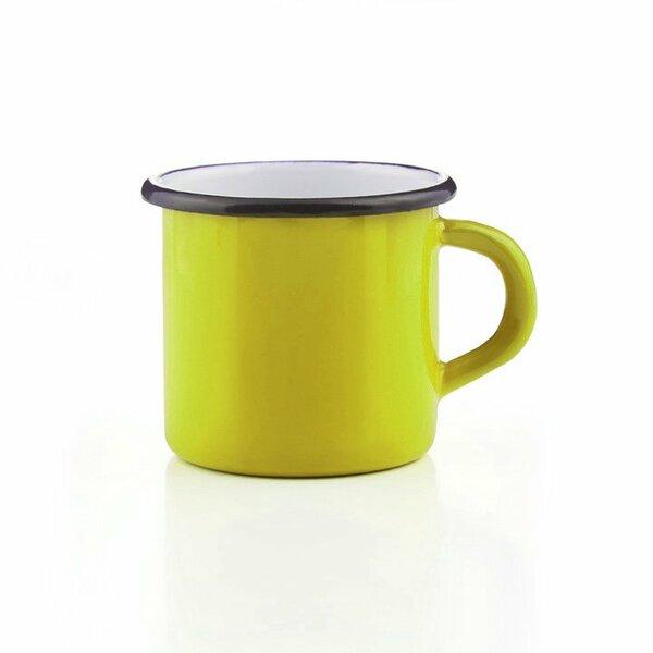 Emaille Tasse gelb mit schwarzem Rand Becher