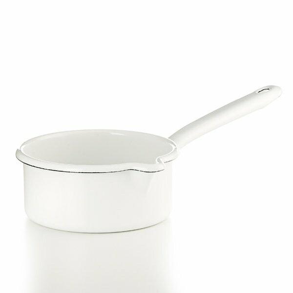 Riess Emaille Stielkasserolle weiß 0,5  Liter