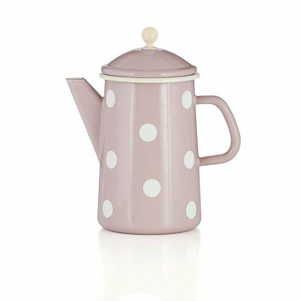 Emaille Kaffeekanne mit Knauf rosa Tupfen