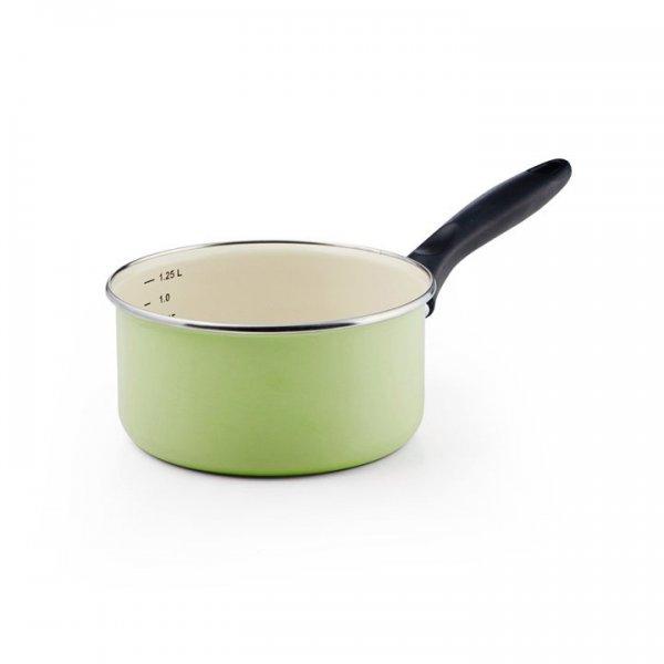 Emaille Stielkasserolle mit Chromrand und Skala grün 1,25 Liter