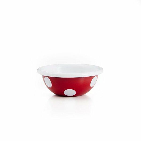 Emaille Schälchen Schüssel 11,5cm rot mit weißen punkten tupfen