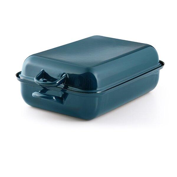 Cera Glas Blue Emaille Riess Bräter Color blau Bratpfanne mit Deckel 37x26cm