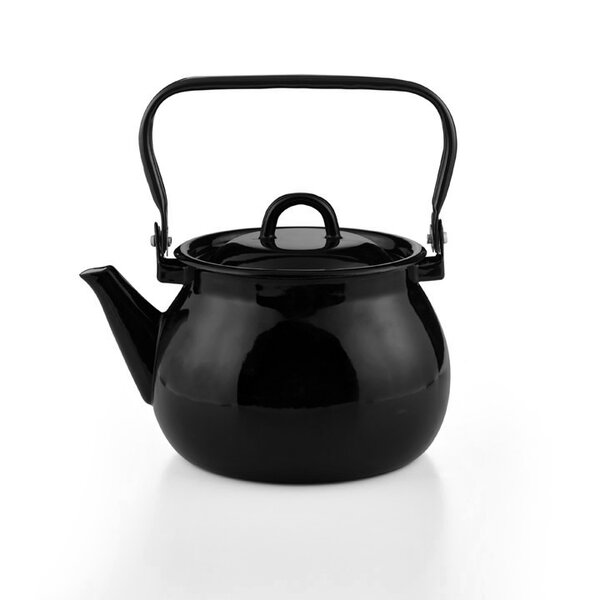 Emaille Wasserkessel schwarz Teekessel