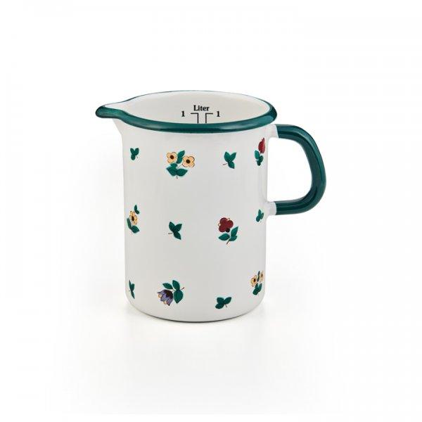 Riess Emaille Küchenmaß 1 Liter Gmundner Streublumen