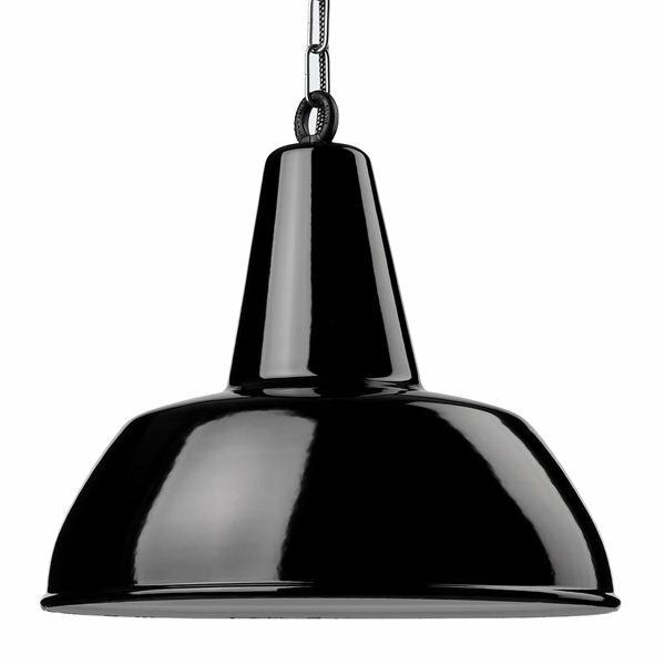 Emaille Lampe 400 Flachstrahler schwarz