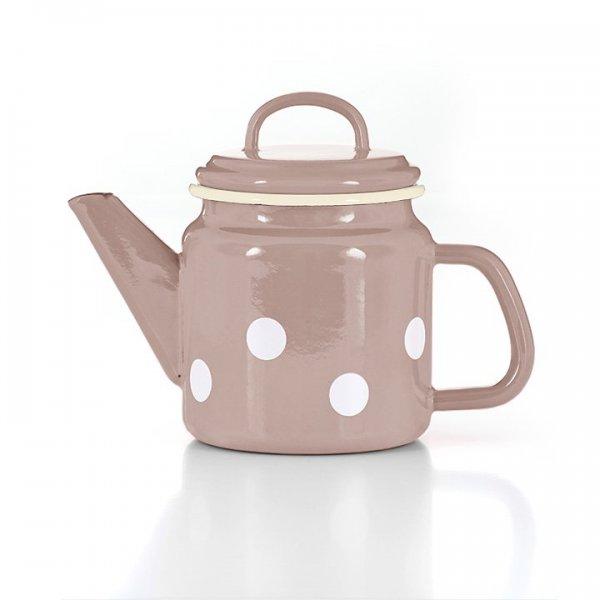 Emaille Teekanne rosa mit weißen Punkten Tupfen