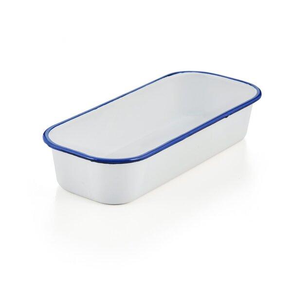 Emaille Brotbackform, Kuchenform weiß blau