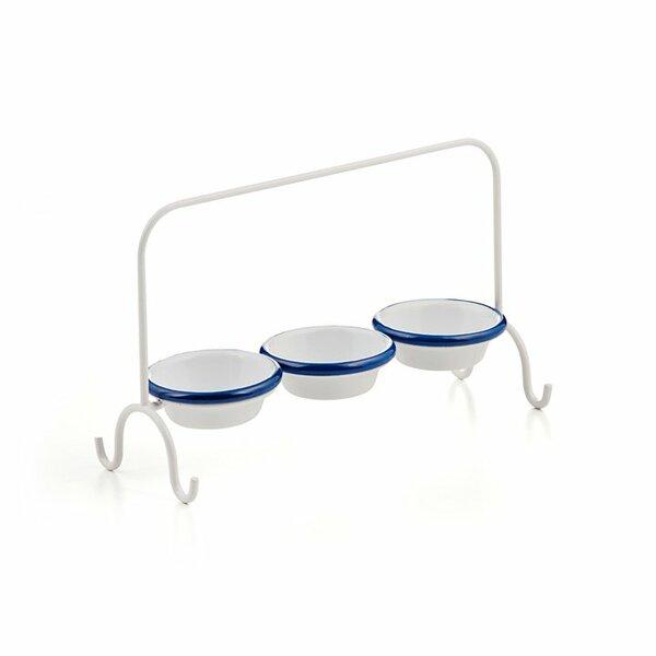 Dip-Schalen Ständer mit 3 Emaille Dipschalen