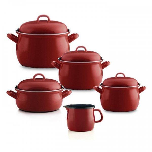 Emailset Color rot Geschirr-Set 5 teilig Topfset