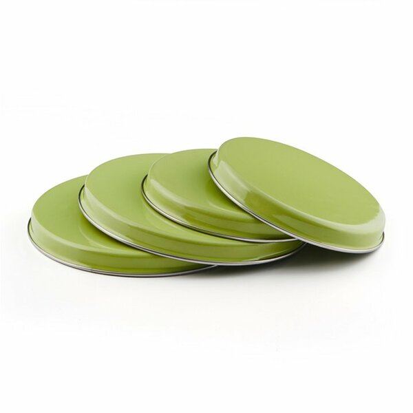 Emaille Herdabdeckplatte Set grün