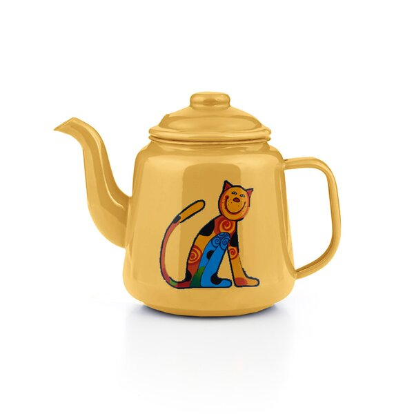 Emaille Kinder Teekanne Zoo gelb