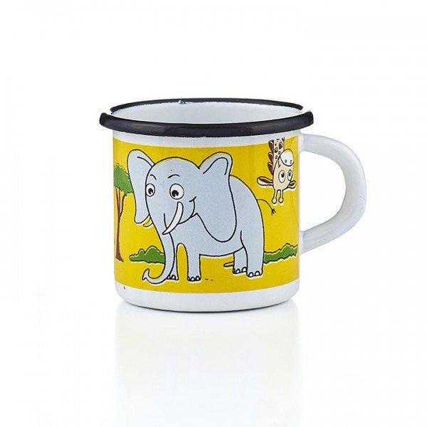 Emaille Kindertasse Elefant Giraffe Nashorn