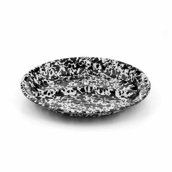 Crow Canyon Emaille Teller 3-geteilt 27cm Marmor schwarz-weiß