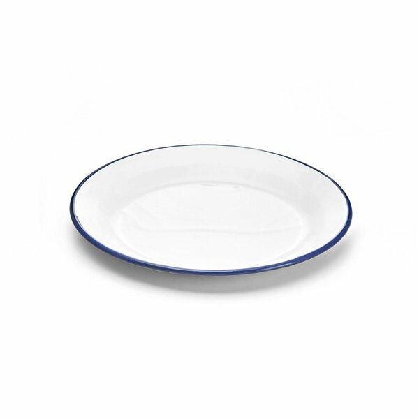 Emaille Teller 24cm weiß blau