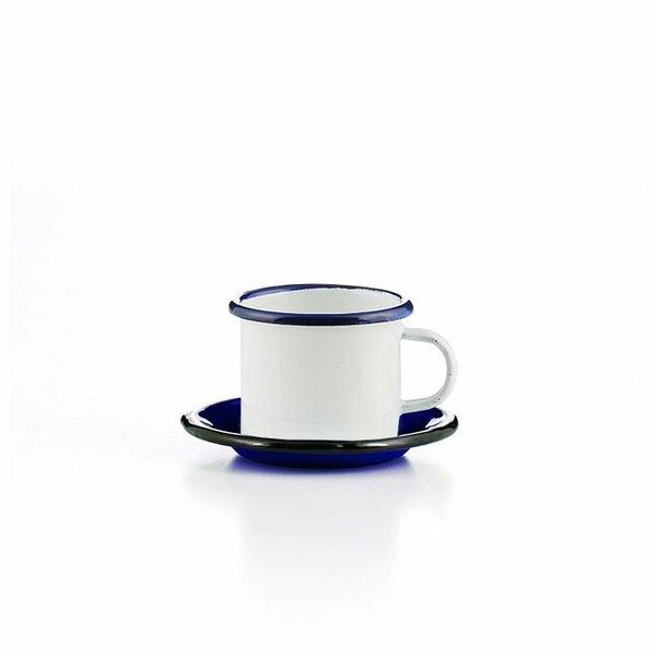 Emaille Espressotasse mit Untertasse weiss