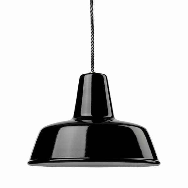 Emaille Lampe 300 Flachstrahler schwarz