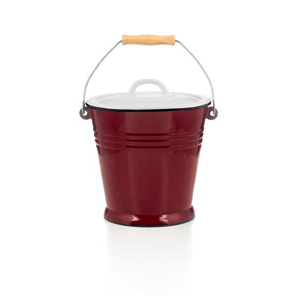 Emaille Eimer 5 Liter rot mit Deckel