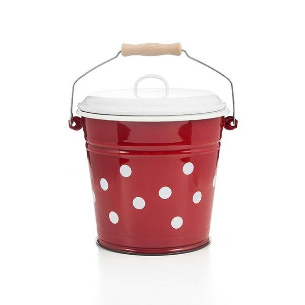 Emaille Eimer rot mit weißen Punkten