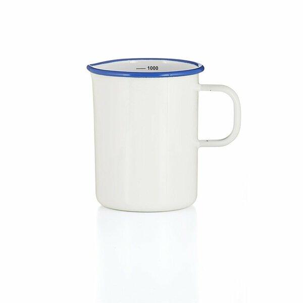 Emaille Litermaß Messbecher weiß 1 Liter